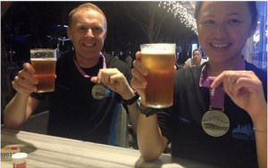 Beer with the Running Wolf after the Brooks Marina Bay Half Marathon.
